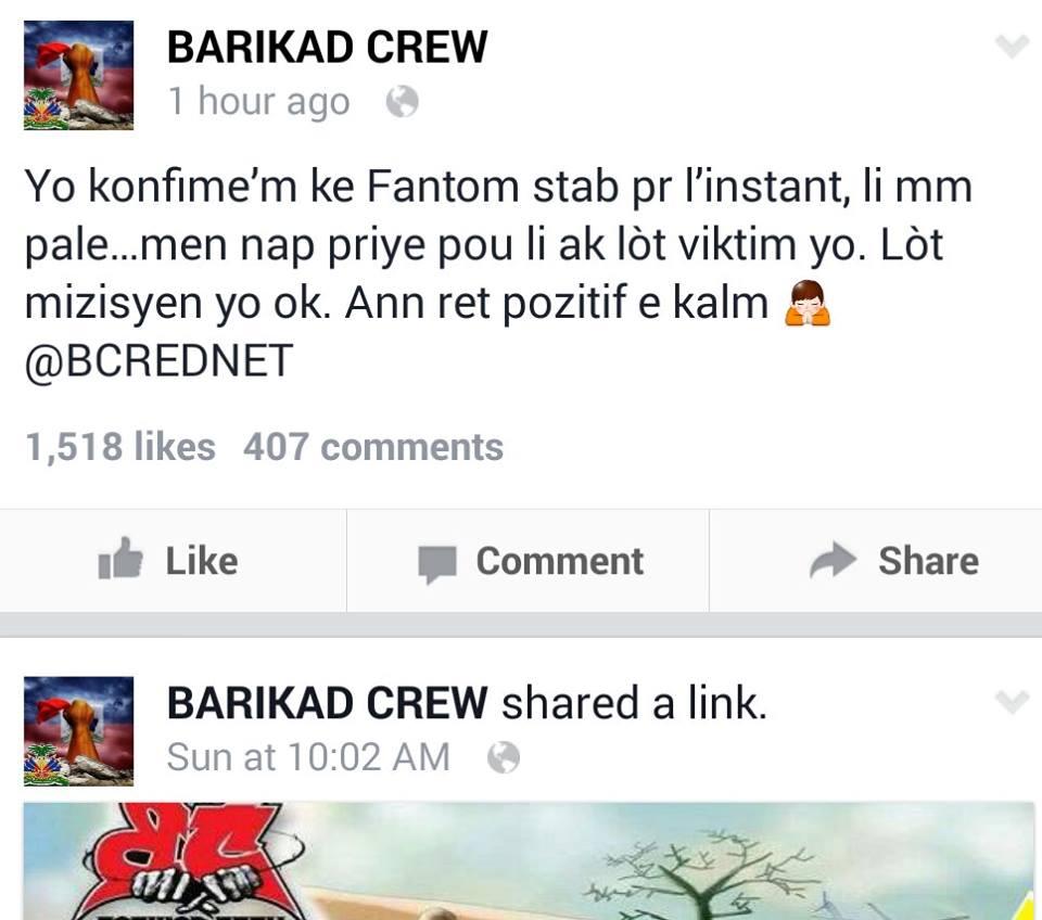 Mesaj de Barikad Crew: Fantom stab pour l'instant / li pale / nap pryie pou li ak lòt viktim yo