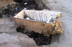 Haiti: Trou béant à l'entrée conduisant à la résidence du Président de la République