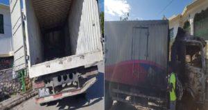 Haiti: Un camion Ede Pèp apportant de l'aide aux victimes du seisme pillé et incendié