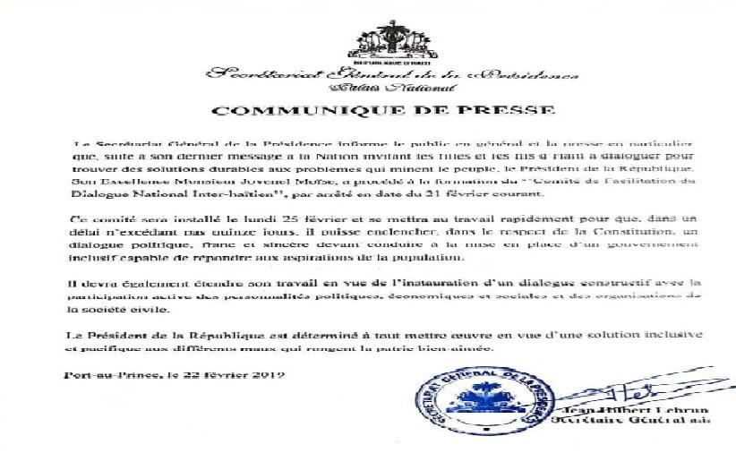 Haiti: Publication de l'arrêté créant le comité de facilitation du dialogue national interhaïtien