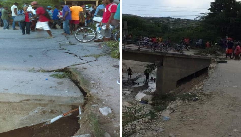 Haiti: Le pont de cabaret sur la route nationale #1 coupé en deux