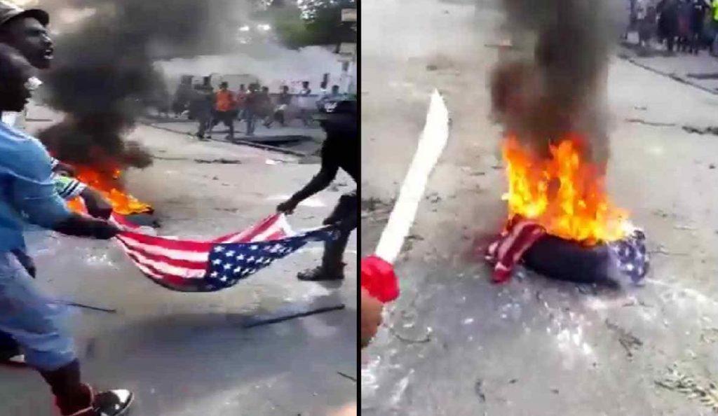 Haiti: Des individus brûlent un drapeau américain en signe de protestation