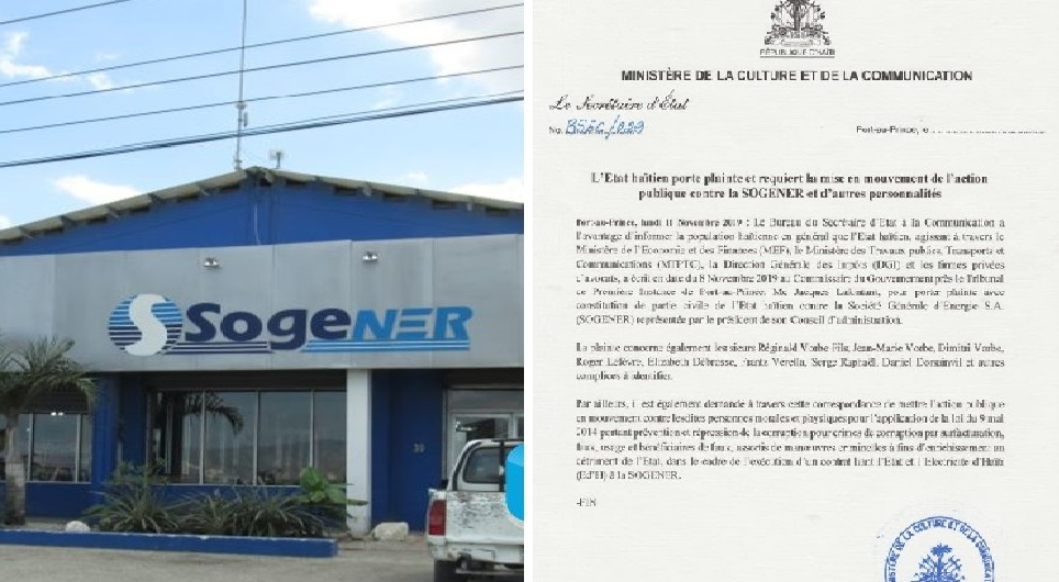 Haïti: L'Etat haïtien porte plainte et requiert la mise en mouvement de l'action publique contre la SOGENER