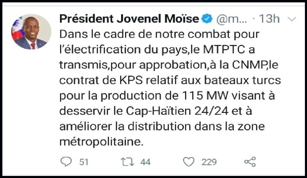 Haïti: Remise pour approbation du contrat d'électrification 24/24 de Cap-Haïtien et ses environs