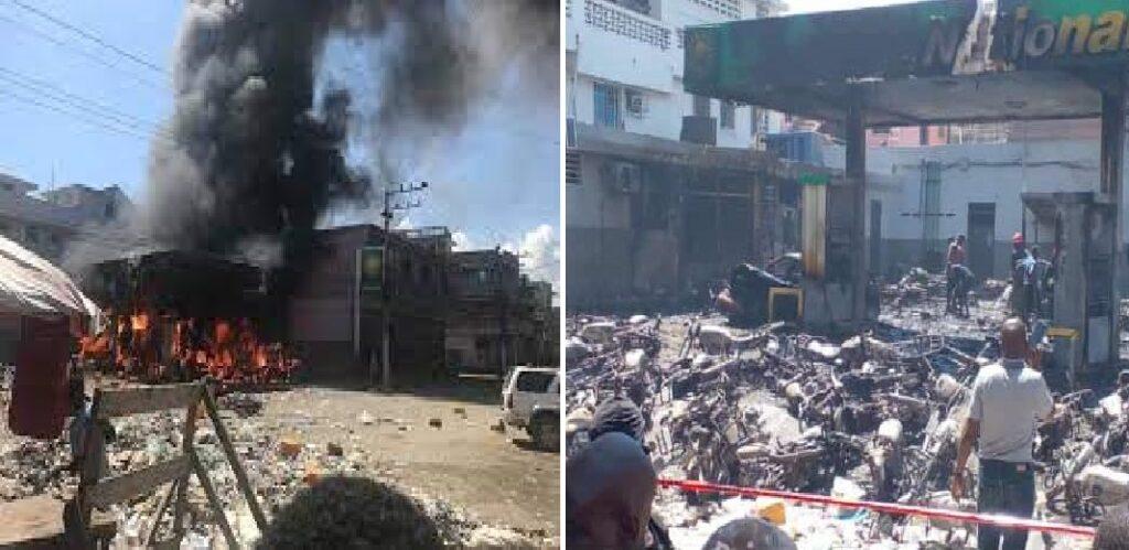 Haïti: Plusieurs véhicules et  motocyclettes partis en fumée lors d'un incendie dans une station de service